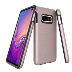 Triangle Texture Shockproof Hybrid Rugged Armor Defender Phone Case for Samsung Galaxy S10e (5.8 inch) - Rose Gold