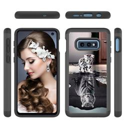 Cat and Tiger Shock Absorbing Hybrid Defender Rugged Phone Case Cover for Samsung Galaxy S10e (5.8 inch)
