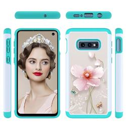 Pearl Flower Shock Absorbing Hybrid Defender Rugged Phone Case Cover for Samsung Galaxy S10e (5.8 inch)