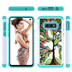 Multicolored Tree Shock Absorbing Hybrid Defender Rugged Phone Case Cover for Samsung Galaxy S10e (5.8 inch)