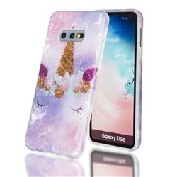 Unicorn Girl Shell Pattern Clear Bumper Glossy Rubber Silicone Phone Case for Samsung Galaxy S10e (5.8 inch)