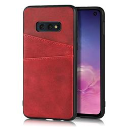 Simple Calf Card Slots Mobile Phone Back Cover for Samsung Galaxy S10e (5.8 inch) - Red