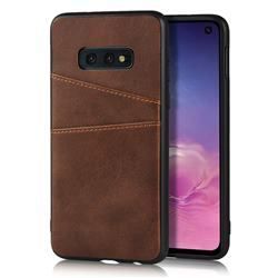 Simple Calf Card Slots Mobile Phone Back Cover for Samsung Galaxy S10e (5.8 inch) - Coffee