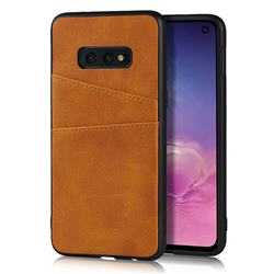 Simple Calf Card Slots Mobile Phone Back Cover for Samsung Galaxy S10e (5.8 inch) - Yellow