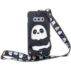 Cute Panda Neck Lanyard Zipper Wallet Silicone Case for Samsung Galaxy S10e (5.8 inch)
