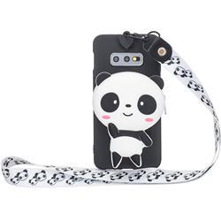 White Panda Neck Lanyard Zipper Wallet Silicone Case for Samsung Galaxy S10e (5.8 inch)