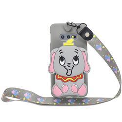 Gray Elephant Neck Lanyard Zipper Wallet Silicone Case for Samsung Galaxy S10e (5.8 inch)