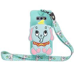 Blue Elephant Neck Lanyard Zipper Wallet Silicone Case for Samsung Galaxy S10e (5.8 inch)