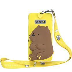 Yellow Bear Neck Lanyard Zipper Wallet Silicone Case for Samsung Galaxy S10e (5.8 inch)