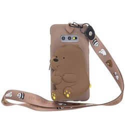 Brown Bear Neck Lanyard Zipper Wallet Silicone Case for Samsung Galaxy S10e (5.8 inch)