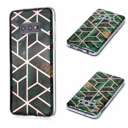 Green Rhombus Galvanized Rose Gold Marble Phone Back Cover for Samsung Galaxy S10e (5.8 inch)