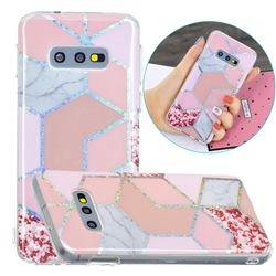 Pink Marble Painted Galvanized Electroplating Soft Phone Case Cover for Samsung Galaxy S10e (5.8 inch)