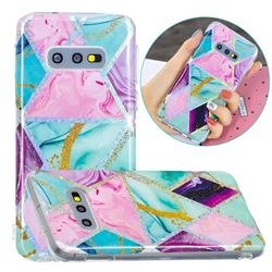 Triangular Marble Painted Galvanized Electroplating Soft Phone Case Cover for Samsung Galaxy S10e (5.8 inch)
