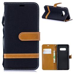 Jeans Cowboy Denim Leather Wallet Case for Samsung Galaxy S10 Lite(5.8 inch) - Black
