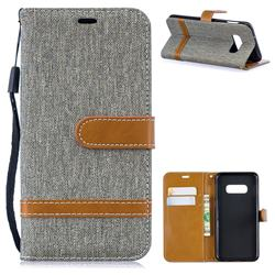 Jeans Cowboy Denim Leather Wallet Case for Samsung Galaxy S10e(5.8 inch) - Gray