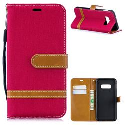 Jeans Cowboy Denim Leather Wallet Case for Samsung Galaxy S10e(5.8 inch) - Red