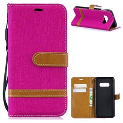 Jeans Cowboy Denim Leather Wallet Case for Samsung Galaxy S10e(5.8 inch) - Rose