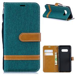 Jeans Cowboy Denim Leather Wallet Case for Samsung Galaxy S10e(5.8 inch) - Green