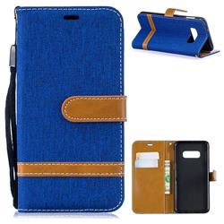 Jeans Cowboy Denim Leather Wallet Case for Samsung Galaxy S10e(5.8 inch) - Sapphire