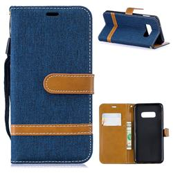 Jeans Cowboy Denim Leather Wallet Case for Samsung Galaxy S10e(5.8 inch) - Dark Blue