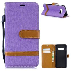 Jeans Cowboy Denim Leather Wallet Case for Samsung Galaxy S10e(5.8 inch) - Purple