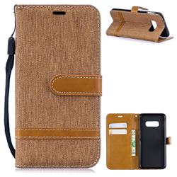 Jeans Cowboy Denim Leather Wallet Case for Samsung Galaxy S10e(5.8 inch) - Brown