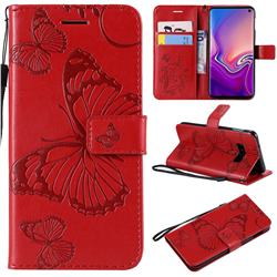 Embossing 3D Butterfly Leather Wallet Case for Samsung Galaxy S10e(5.8 inch) - Red