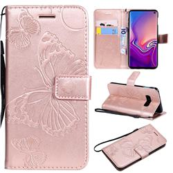 Embossing 3D Butterfly Leather Wallet Case for Samsung Galaxy S10e(5.8 inch) - Rose Gold