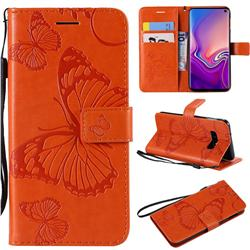 Embossing 3D Butterfly Leather Wallet Case for Samsung Galaxy S10e(5.8 inch) - Orange