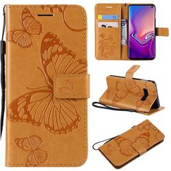 Embossing 3D Butterfly Leather Wallet Case for Samsung Galaxy S10e(5.8 inch) - Yellow