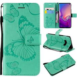 Embossing 3D Butterfly Leather Wallet Case for Samsung Galaxy S10e(5.8 inch) - Green