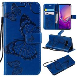 Embossing 3D Butterfly Leather Wallet Case for Samsung Galaxy S10e(5.8 inch) - Blue