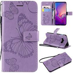 Embossing 3D Butterfly Leather Wallet Case for Samsung Galaxy S10e(5.8 inch) - Purple