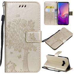 Embossing Butterfly Tree Leather Wallet Case for Samsung Galaxy S10e(5.8 inch) - Champagne