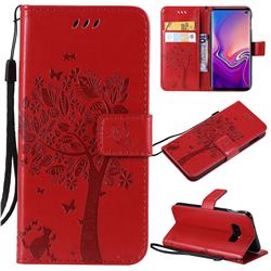 Embossing Butterfly Tree Leather Wallet Case for Samsung Galaxy S10e(5.8 inch) - Red