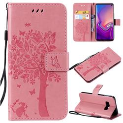 Embossing Butterfly Tree Leather Wallet Case for Samsung Galaxy S10e(5.8 inch) - Pink