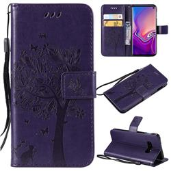 Embossing Butterfly Tree Leather Wallet Case for Samsung Galaxy S10e(5.8 inch) - Purple