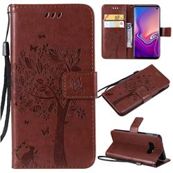 Embossing Butterfly Tree Leather Wallet Case for Samsung Galaxy S10e(5.8 inch) - Coffee