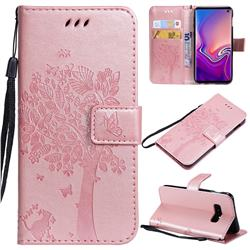 Embossing Butterfly Tree Leather Wallet Case for Samsung Galaxy S10e(5.8 inch) - Rose Pink