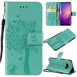 Embossing Butterfly Tree Leather Wallet Case for Samsung Galaxy S10e(5.8 inch) - Cyan