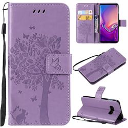 Embossing Butterfly Tree Leather Wallet Case for Samsung Galaxy S10e(5.8 inch) - Violet
