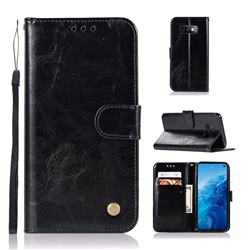 Luxury Retro Leather Wallet Case for Samsung Galaxy S10e(5.8 inch) - Black