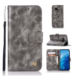 Luxury Retro Leather Wallet Case for Samsung Galaxy S10e(5.8 inch) - Gray
