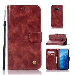 Luxury Retro Leather Wallet Case for Samsung Galaxy S10e(5.8 inch) - Wine Red