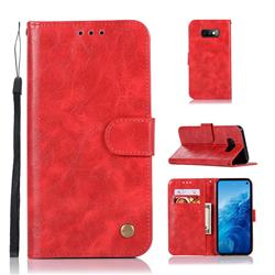 Luxury Retro Leather Wallet Case for Samsung Galaxy S10e(5.8 inch) - Red