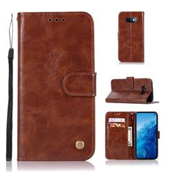 Luxury Retro Leather Wallet Case for Samsung Galaxy S10e(5.8 inch) - Brown