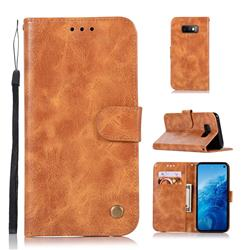 Luxury Retro Leather Wallet Case for Samsung Galaxy S10e(5.8 inch) - Golden