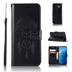 Intricate Embossing Owl Campanula Leather Wallet Case for Samsung Galaxy S10e(5.8 inch) - Black