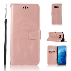 Intricate Embossing Owl Campanula Leather Wallet Case for Samsung Galaxy S10e(5.8 inch) - Rose Gold