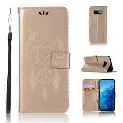 Intricate Embossing Owl Campanula Leather Wallet Case for Samsung Galaxy S10e(5.8 inch) - Champagne